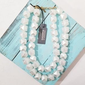 NWT Sugarfix White Geometric Necklace Double D5